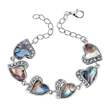 Szxc Jewelry Womens Abalone Shell Link Love All Around Heart Crystal Bracelet Adjustable