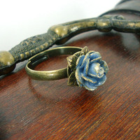 Vintage Style Rose Ring - Dusty Blue Flower Ring - Antique Brass Bronze Victorian Rose Ring - Paper Flower Hand Painted Jewelry Rose Jewelry
