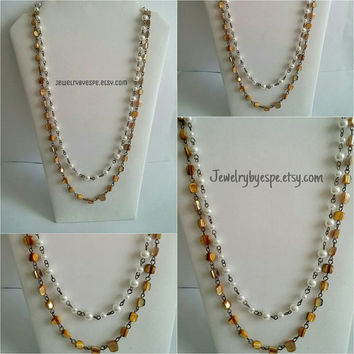 Gold & Ivory Long Statement Necklace-Gold Anthropologie Necklace-Pearl Multi Strand Necklace-Vintage Beadwork Necklace
