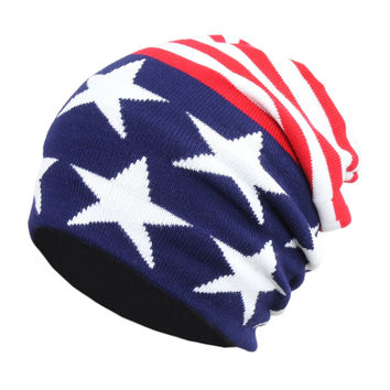 (Hat) -American Flag USA Knit Long Slouchy Skull Cap, Patriotic Slouch Beanie Hat