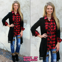 Never Apart Cardigan with Crochet Trim in Black