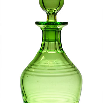 Art Deco Green Glass Decanter by Stuart Vintage English 1920s