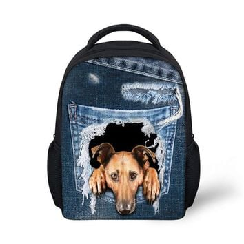 School Backpack trendy FORUDESIGNS Children's Backpack kids School Bags for Girls Denim Pearl Dog Printing Book Bag Backpack for Little Girl Schoolbag AT_54_4