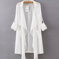 Drape Open Front Ruffled Chiffon Coat with Button Tab Sleeves
