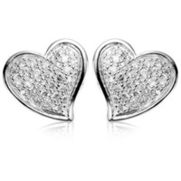 Amazon.com: Sterling Silver Cubic Zirconia Pave Heart Earrings: Jewelry
