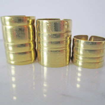 "Unique Ring Gold Ring Band Cigar Band Statement: Wide Midi Above Knuckle Modernist Modern Sculptural Bold Artisan ""Single Barrel"" Ring Set"