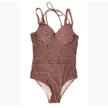 Red Double Strappy Striped One Piece Swimsuit