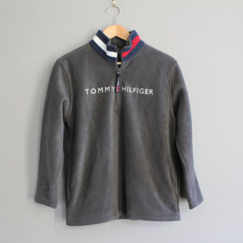 Tommy Hilfiger Sweatshirt Grey Fleece Zip Up Tommy Pullover Old School Sweatshirt Vintage 90s Size Women's S #T165A