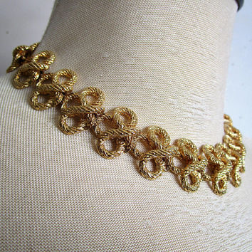 Vintage KJL 80s Choker Gold Tone Kenneth Jay Lane Twisted Rope Link Evening Party New Years Necklace