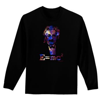 Cosmic Galaxy Einstein - E equals mc2 Adult Long Sleeve Dark T-Shirt by TooLoud