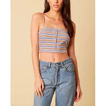 cotton candy la - baby girl ribbed stripe knit crop top - white/multi