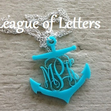 2 inch Acrylic Anchor Monogram Necklace: Pick your color and ships in a gift box!