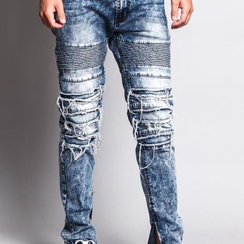 Men's Distressed Biker Jeans DL1151 - O6B
