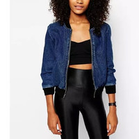 Blue Denim Zippered Baseball Jacket