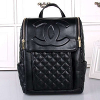 CHANEL Women College Leather Satchel Backpack Bookbag