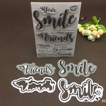 AlinaCraft METAL CUTTING DIES cut CLEAR STAMPS outline shadow letters smile friends Scrapbooking die paper craft card cutter