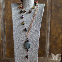 Colorful Agate & Copper Bohemian Necklace from A Single Dream