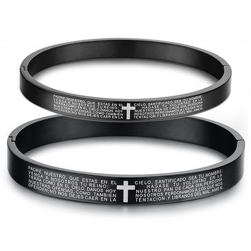 Spanish Bible Lord prayer cross Couple titanium steel bracelet Black-Gender Men