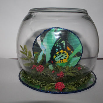 BUTTERFLY GARDEN..Butterfly Tea Light Table Topper or Centerpiece...Nature Under Glass