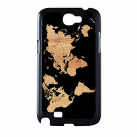 World Map On Wood Texture Print Samsung Galaxy Note 2 Case