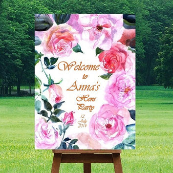Hens party Welcome Sign, Pink fuchsia watercolor roses, Printable signs, floral Signage, gold silver decors, girl party, custom personalized