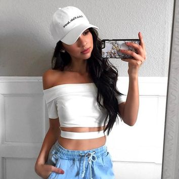 Summer 95% Cotton t-shirt women crop top causal fashion short solid slash neck one direction haut femme