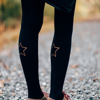 Golden Star Printed Tights by Rebecca from theclotheshorse