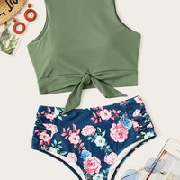 Knot Hem Top With Random Floral Tankini Set