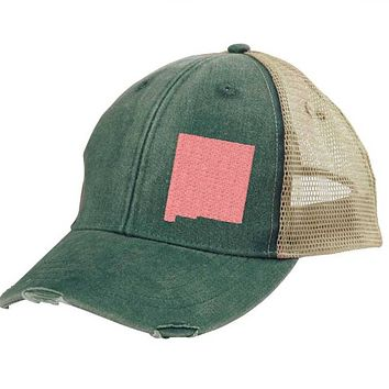 New Mexico Trucker Hat - Distressed Snapback -off-center state