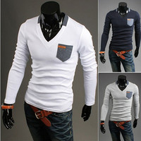 V Neck Slim Fit Men's Fashion Tee