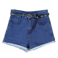 High Waist Rolled Cuffs Denim Shorts