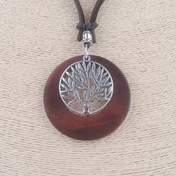 Fashion Choker Alloy Life Tree Wooden Pendant Necklace