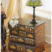 Hemingway's Library Book Side Table - MH709916                    - Design Toscano