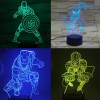 3D Stereo Led Night Light Superman and Spiderman