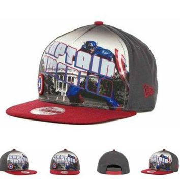DCCKUN7 Marvel Captain America Hero Post Snapback 9fifty Cap1 Cap Snapback Hat - Ready Stock