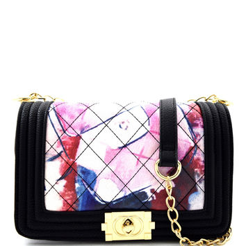 Black Abstract Painting Quilted Shoulder Bag Purse