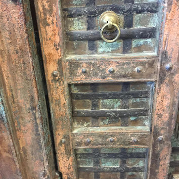 Antique India Doors Distressed Rustic Vintage Teak Iron Carved Architecture Barn Doors SPANISH Hacienda Shabby Chic  18C FREE SHIP