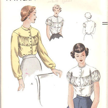 Vogue 6690 Sewing Pattern WWII 1940s Fashion Blouse Gathered Inset Shirt Drop Shoulder Yoke Top Hollywood Style Bust 36