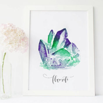 Flourite crystal flourite stone art gemstone decor, crystals and gem stones, gemstone art, gem print, gem art, painted stone wall art
