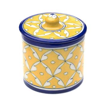 Blue Pottery Canister Handmade - Blue & Yellow