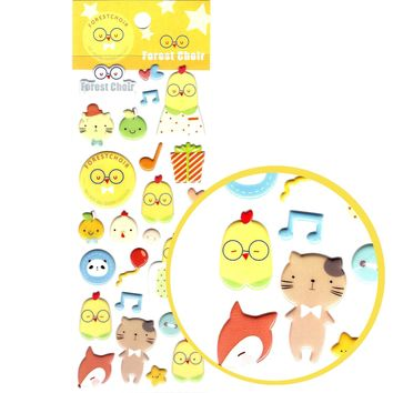 Birds Chickens and Foxes Shaped Animal Puffy Stickers for Scrapbooking
