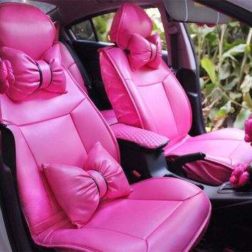 Charming Hot Pink Bowknot Universal Car Seat Covers Front and Rear Leather Seat ...