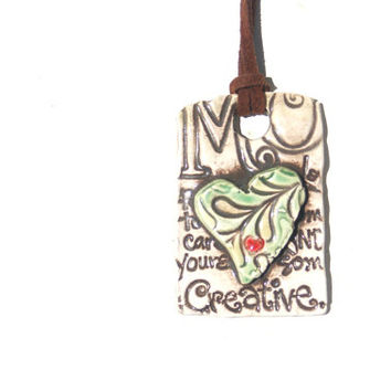 Ceramic Necklace with imprinted word Creative, Bohemian Necklace,