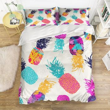 CHARMHOME Art Abstract Pineapple Decorative Bedding Sets 4pcs Duvet Cover Bed Sheet Pillowcases for Adult Kids Free Shipping