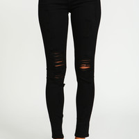 Black Shredded Skinny Jeans