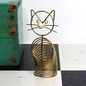 Mid Century Modern Cat Metal Spring Coil Mail Holder . Vintage Goldtone Desk Accessory . Letter Sorter