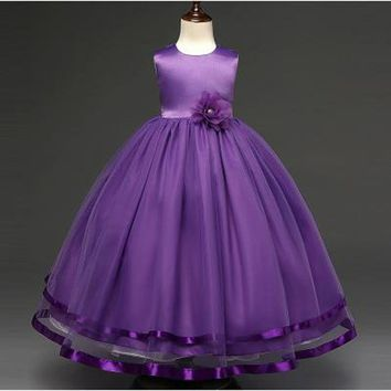 2017 New Arrival Flower Girls Dress For Wedding Events White Purple Blue Champagne Party Baby Girl Birthday Dress In stock