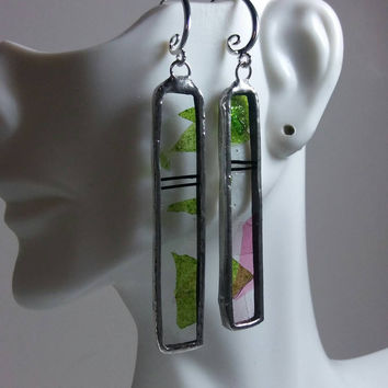 Stained Glass Jewelry, Long Rectangular Green Pink & Black Confetti Glass Earrings