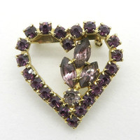 Vintage Purple Rhinestone Heart Brooch, Gold Tone Pin