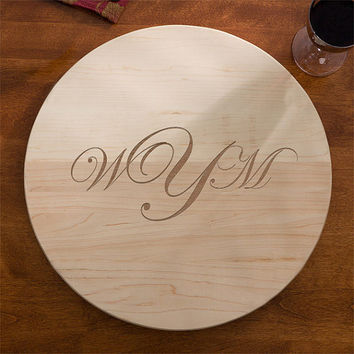 Lazy Susan - 24IN -  All Natural Wood - Monogram - FREE SHIPPING!